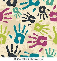 Diversity vintage hand prints pattern