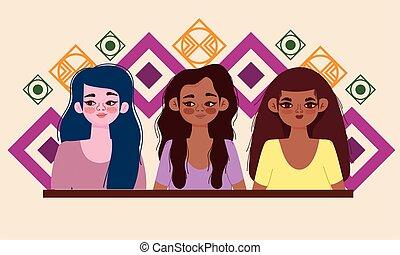 diversity women cartoon portrait, diverse group female