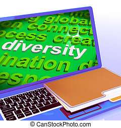 Diversity Word Cloud Laptop Shows Multicultural Diverse Culture