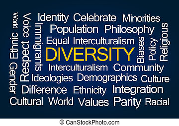 Diversity Word Cloud on Blue Background