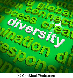 Diversity Word Cloud Shows Multicultural Diverse Culture