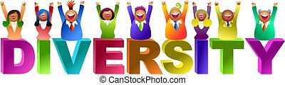 diversity word - diverse group of happy workers - icon...