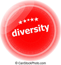 diversity word on red stickers button, label