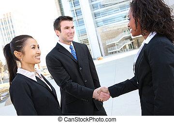 diverso, atractivo, equipo negocio