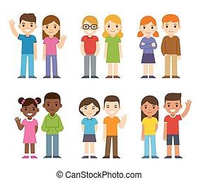 diverso, cartone animato, bambini