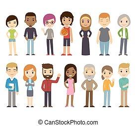 diverso, cartone animato, persone