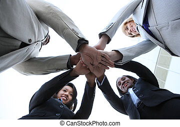 diverso, equipe negócio, celebrando