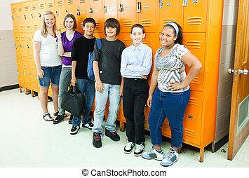 diverso, estudantes, em, escola