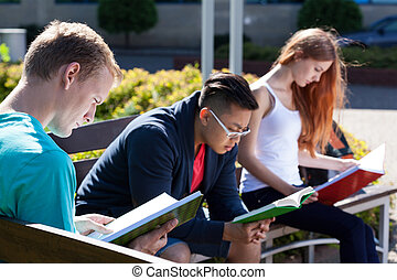 diverso, estudantes, ligado, um, banco