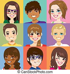 diverso, gente, joven, caras