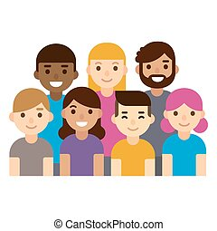 diverso, grupo, de, pessoas.