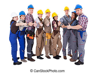 diverso, grupo, de, trabajadores, dar, un, pulgares arriba