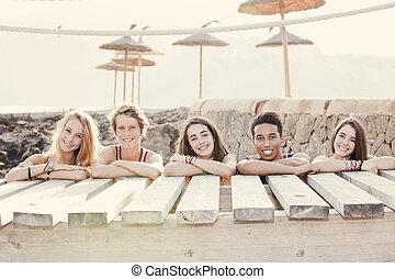 diverso, grupo, de, verano bromea