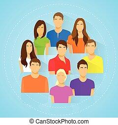 diverso, grupo pessoas, ícone, avatar, homem mulher