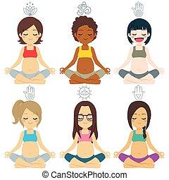 diverso, gruppo, pose, yoga, incinta