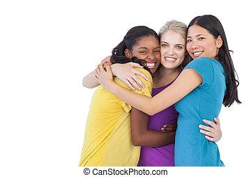 diverso, mujeres jóvenes, se abrazar, uno al otro
