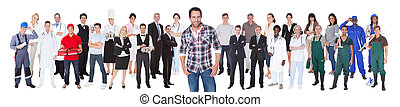 diverso, pessoas, com, diferente, ocupações