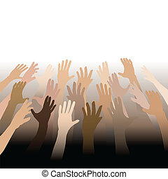 diverso, pessoas, mãos, alcance, cima, saída, para, espaço...