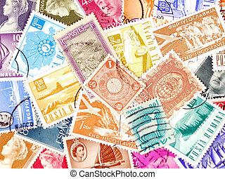 diverso, poste, sellos