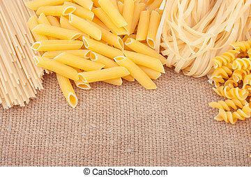 diversos tipos de pastas, en, arpillera