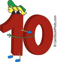 divertente, 10, numero, animato, rosso, 3d