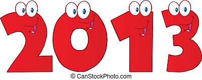 divertente, 2013, anno, nuovo, numeri rossi