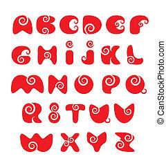 divertente, abc, alfabeto, -, inglese, rosso