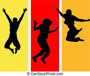 divertente, adolescenti, saltare