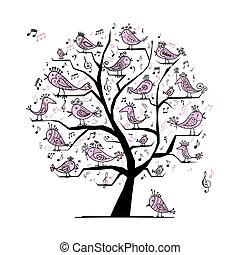 divertente, albero, uccelli, disegno, canto, tuo