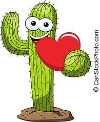 divertente, amare cuore, carattere, isolato, vettore, cactus, cartone animato