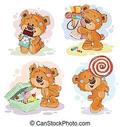 divertente, amore, orso teddy, dolci, tema, illustrazioni