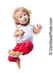 divertente, angolo, ragazzo, alto, pantaloni, rosso, vista