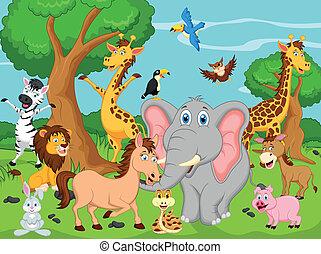 divertente, animale, cartone animato