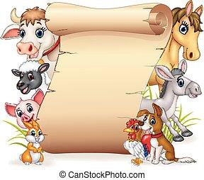 divertente, animali, fattoria, segno, vuoto, cartone animato