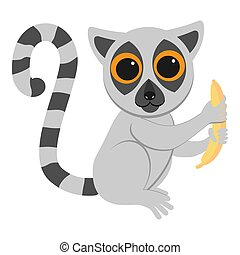 divertente, appartamento, lemur, seduta, illustrazione, animals., africano, banana., geometrico, style., cartone animato