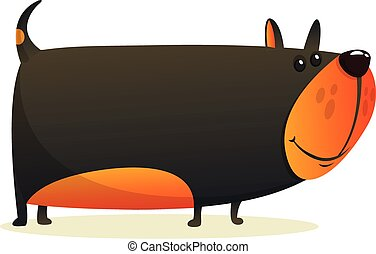 divertente, arrabbiato, bulldog., cartone animato
