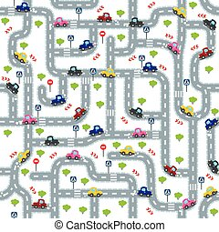 divertente, automobili, seamless, strada, modello