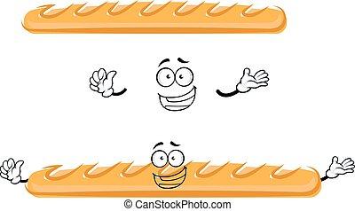 divertente, baguette, cartone animato, francese impanò