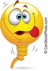 divertente, balloon, smiley fronteggiano