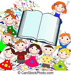 divertente, bambini, libro grande, permettere, fondo, bianco, europeo