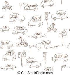 divertente, bambini, modello, seamless, automobili