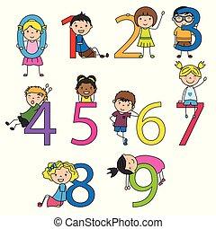 divertente, bambini, numeri