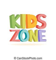 divertente, bambini, zona, illustrazione, letters., vettore, segno, colorito
