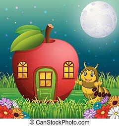 divertente, bruco, foresta, mela, casa