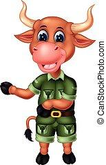 divertente, bufalo, cartone animato, marrone