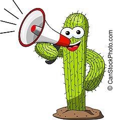 divertente, cactus, carattere, isolato, vettore, megafono, cartone animato, parlante