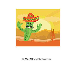 divertente, cactus, deserto, sombrero