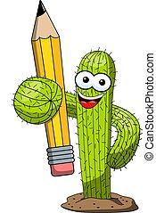 divertente, cactus, matita, carattere, creatività, isolato, vettore, educazione, cartone animato