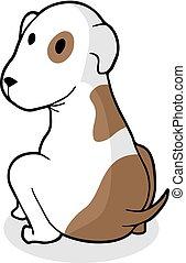 divertente, cane bianco, marrone