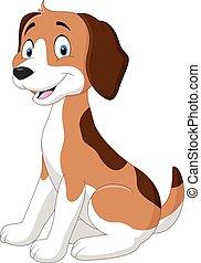 divertente, cane, cartone animato, seduta